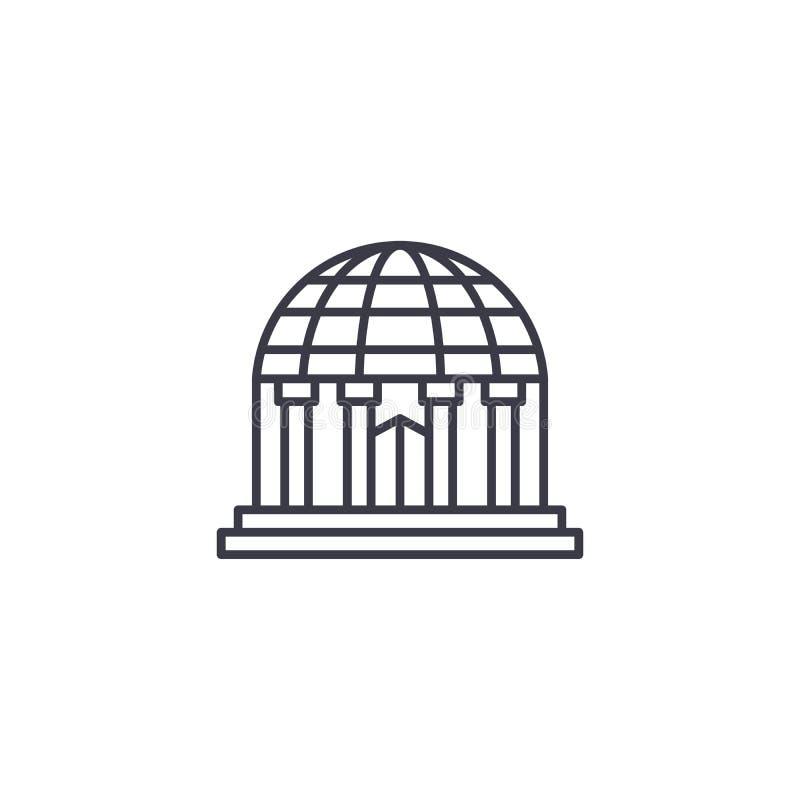 Concept linéaire d'icône de planétarium Ligne signe de vecteur, symbole, illustration de planétarium illustration libre de droits