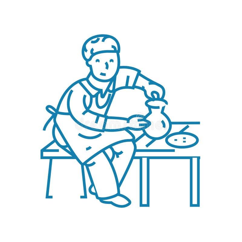 Concept linéaire d'icône de poterie Ligne signe de vecteur, symbole, illustration de poterie illustration libre de droits