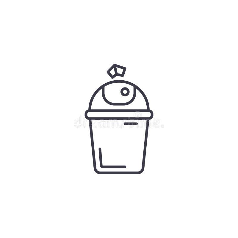 Concept linéaire d'icône de poubelle Ligne signe de vecteur, symbole, illustration de poubelle illustration libre de droits