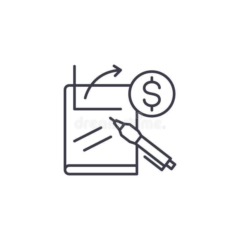 Concept linéaire d'icône de préparation financière de rapport Ligne financière signe de vecteur, symbole, illustration de prépara illustration de vecteur