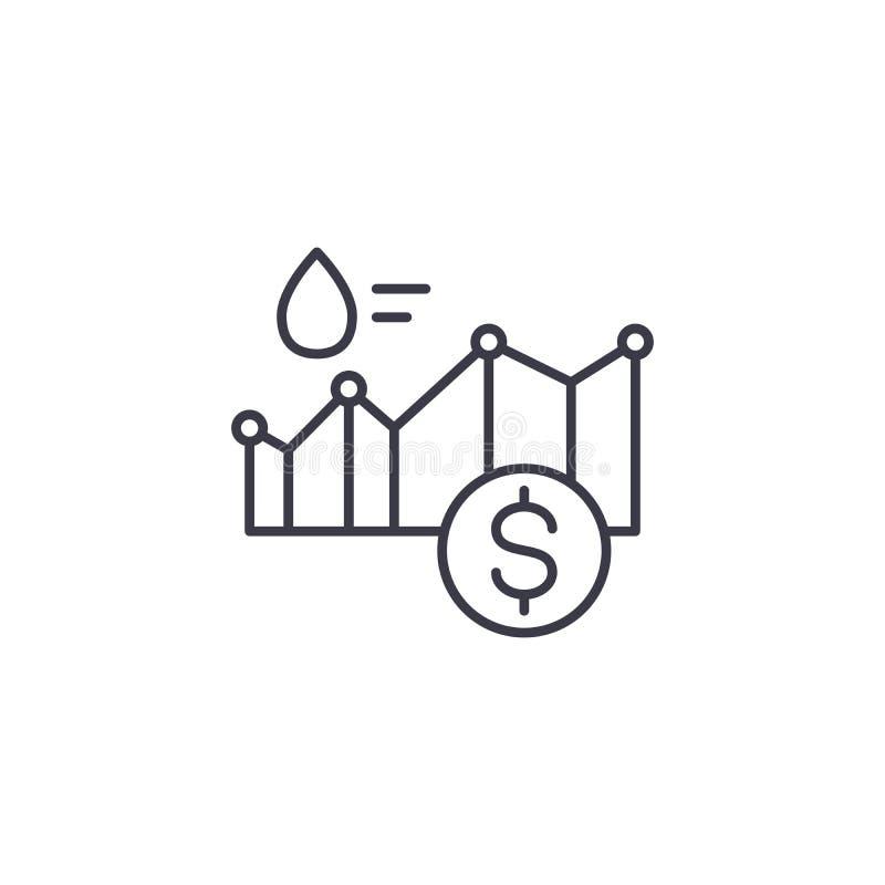 Concept linéaire d'icône de prix du pétrole Ligne signe de vecteur, symbole, illustration de prix du pétrole illustration stock