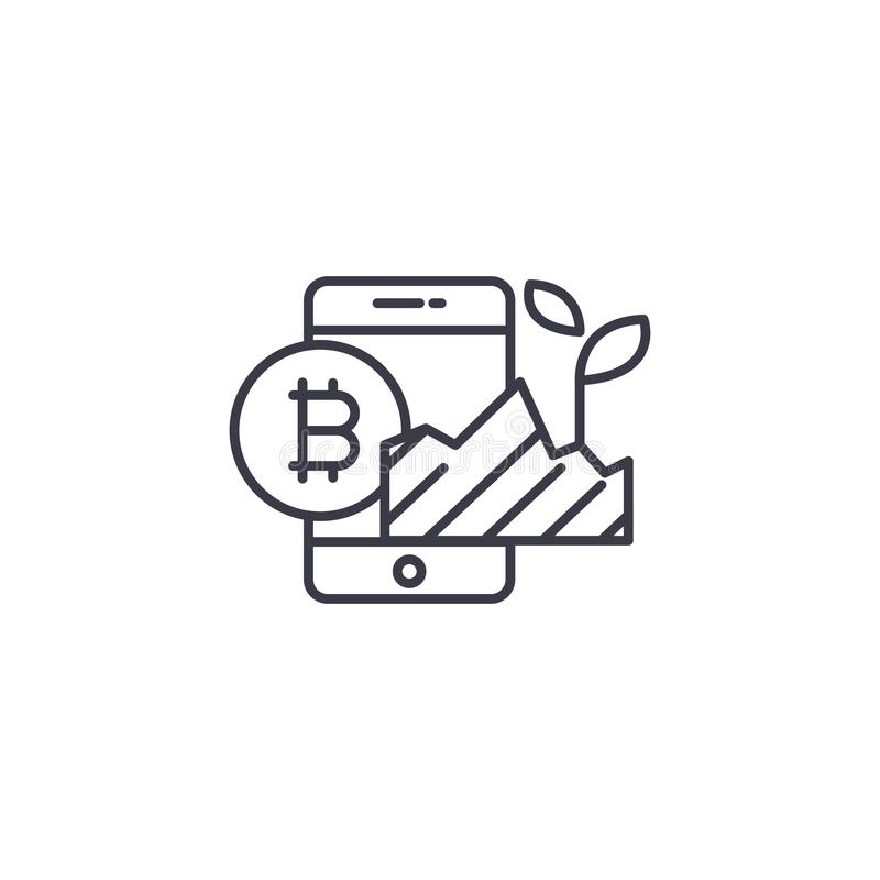 Concept linéaire d'icône de projet d'investissement de Bitcoin Ligne signe de vecteur, symbole, illustration de projet d'investis illustration stock