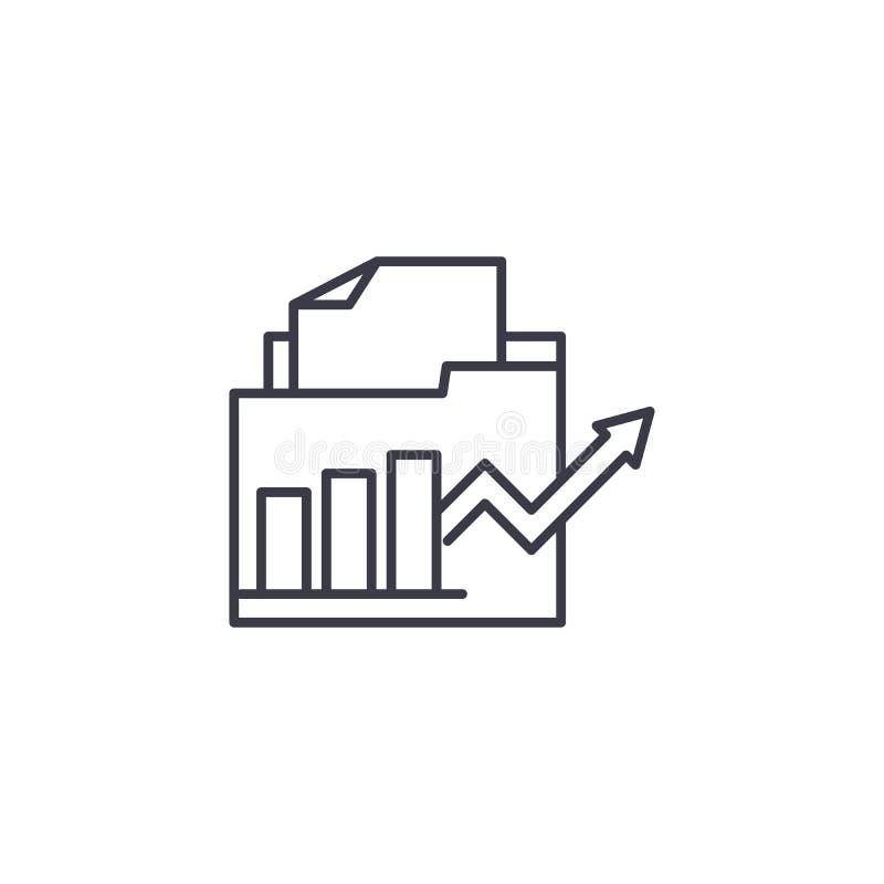 Concept linéaire d'icône de rapports financiers Les rapports financiers rayent le signe de vecteur, symbole, illustration illustration stock