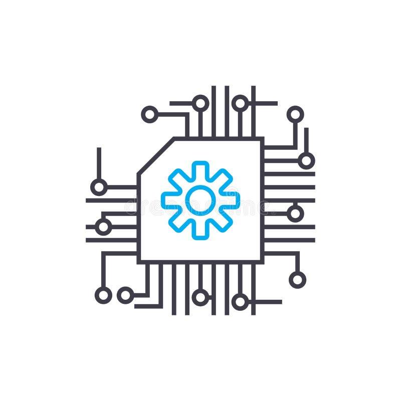 Concept linéaire d'icône de serveur central Ligne centrale signe de vecteur, symbole, illustration de serveur illustration stock