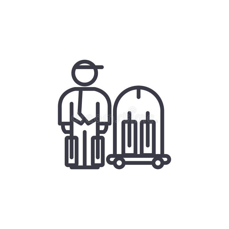 Concept linéaire d'icône de service de portier Tuyau de service de portier signe de vecteur, symbole, illustration illustration libre de droits