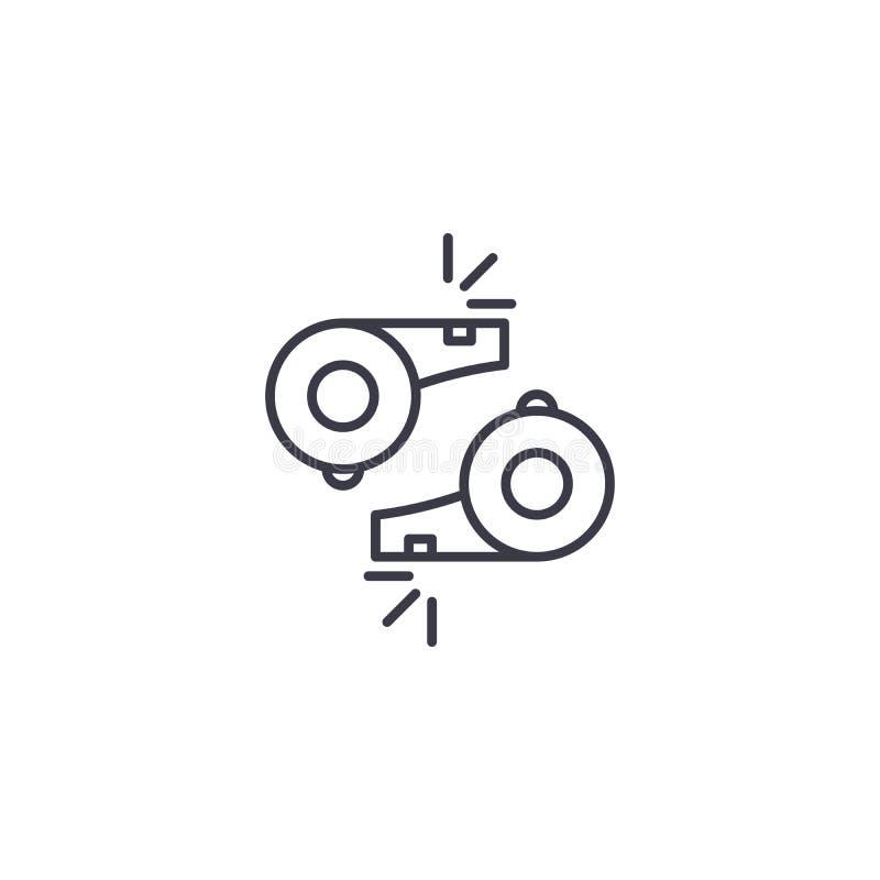 Concept linéaire d'icône de sifflement du ` s d'arbitre Ligne signe de vecteur, symbole, illustration de sifflement de l'arbitre  illustration libre de droits
