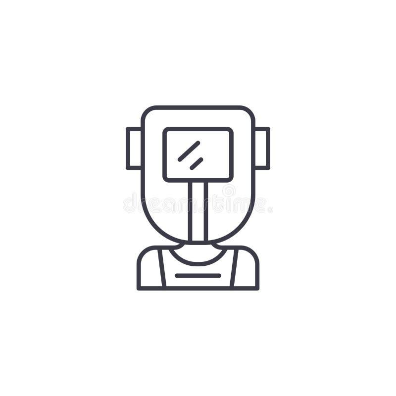 Concept linéaire d'icône de soudeuse Ligne signe de vecteur, symbole, illustration de soudeuse illustration de vecteur