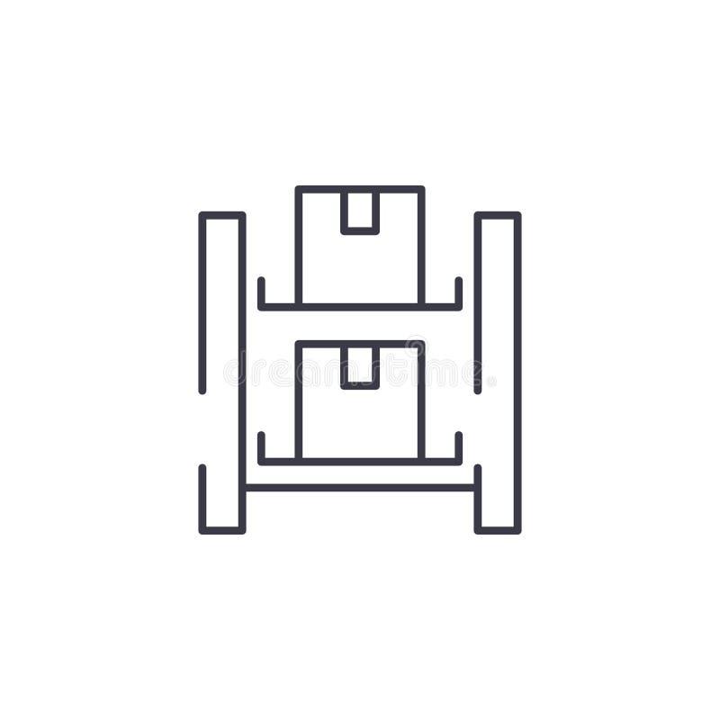 Concept linéaire d'icône de système d'entreposage Le système d'entreposage rayent le signe de vecteur, symbole, illustration illustration libre de droits