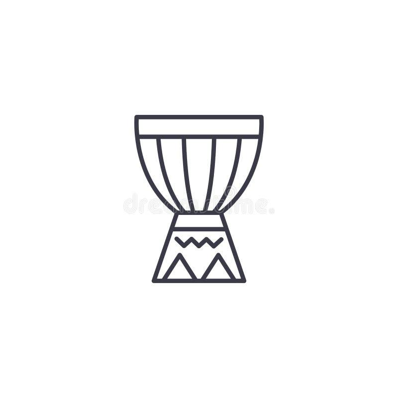 Concept linéaire d'icône de tambour africain Ligne africaine signe de vecteur, symbole, illustration de tambour illustration de vecteur
