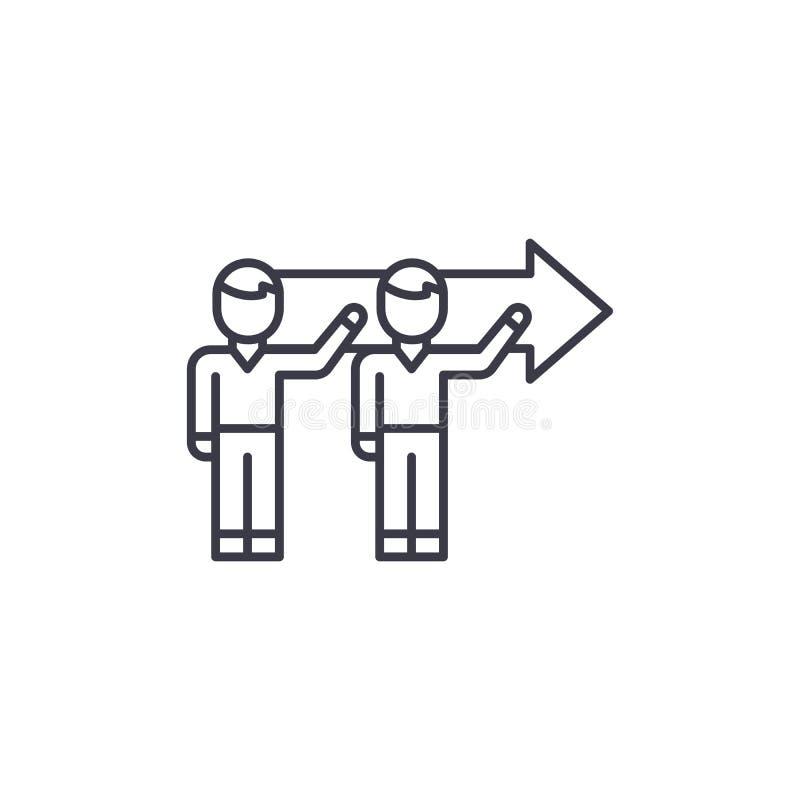 Concept linéaire d'icône de but tandem commun Ligne de but tandem commune signe de vecteur, symbole, illustration illustration de vecteur