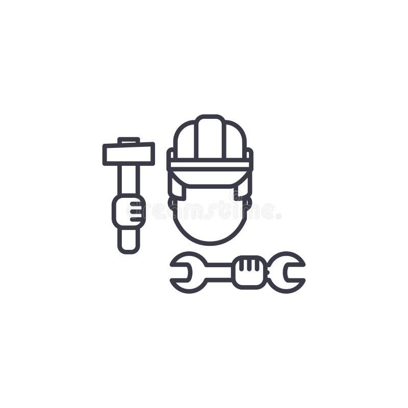 Concept linéaire d'icône de travailleur de la construction Ligne signe de vecteur, symbole, illustration de travailleur de la con illustration de vecteur