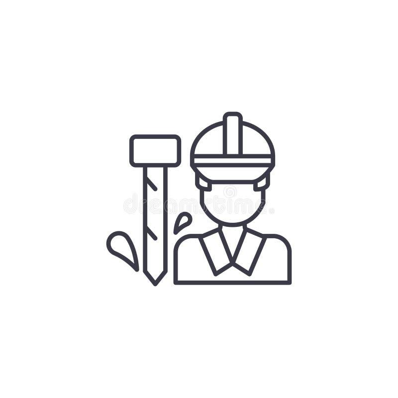 Concept linéaire d'icône de travailleur Ligne signe de vecteur, symbole, illustration de travailleur illustration stock