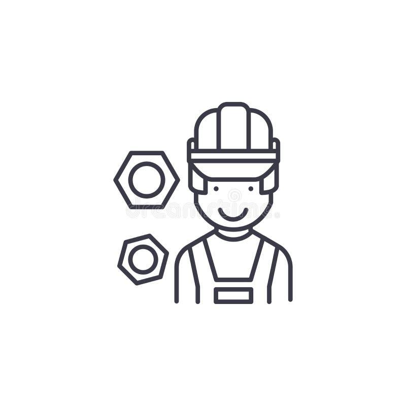 Concept linéaire d'icône de travailleur professionnel de construction Ligne professionnelle signe de vecteur, symbole de travaill illustration de vecteur