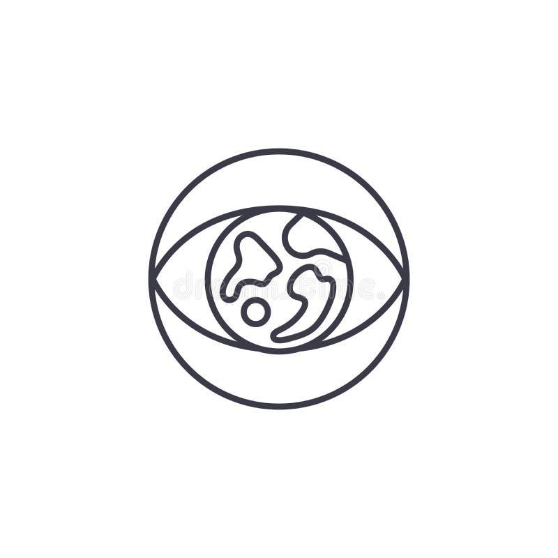 Concept linéaire d'icône de vision globale Ligne globale signe de vecteur, symbole, illustration de vision illustration libre de droits