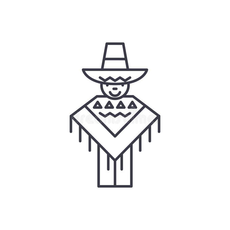 Concept linéaire d'icône d'homme mexicain Ligne mexicaine signe de vecteur, symbole, illustration d'homme illustration stock