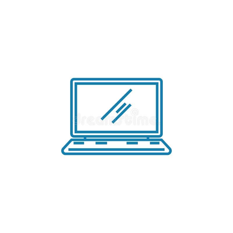 Concept linéaire d'icône d'ordinateur portable Ligne signe de vecteur, symbole, illustration d'ordinateur portable illustration stock