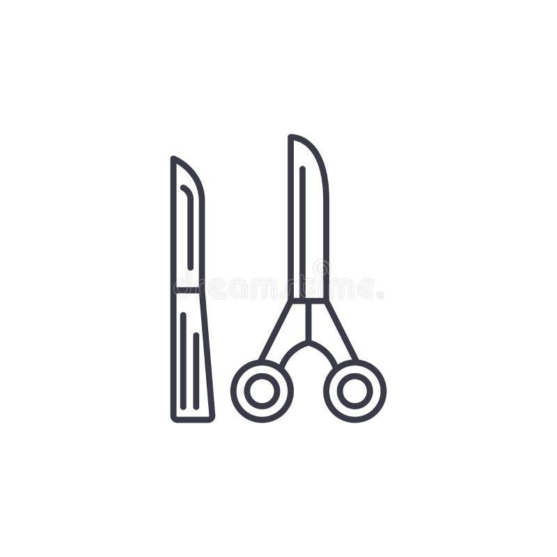 Concept linéaire d'icône d'outils chirurgicaux Les outils chirurgicaux rayent le signe de vecteur, symbole, illustration illustration de vecteur