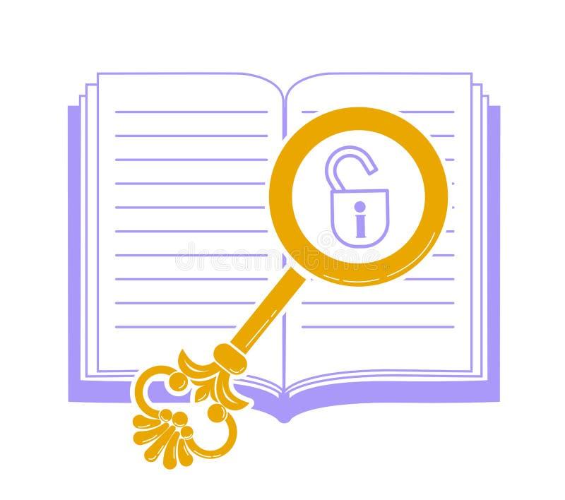 Concept linéaire de la lecture, découvrant des secrets illustration de vecteur