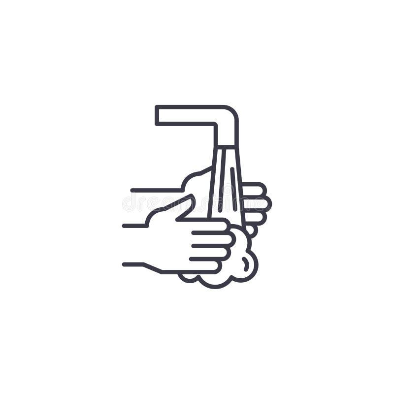 Concept linéaire de lavage d'icône de mains La canne à pêche de lavage dirigent le signe, symbole, illustration illustration stock