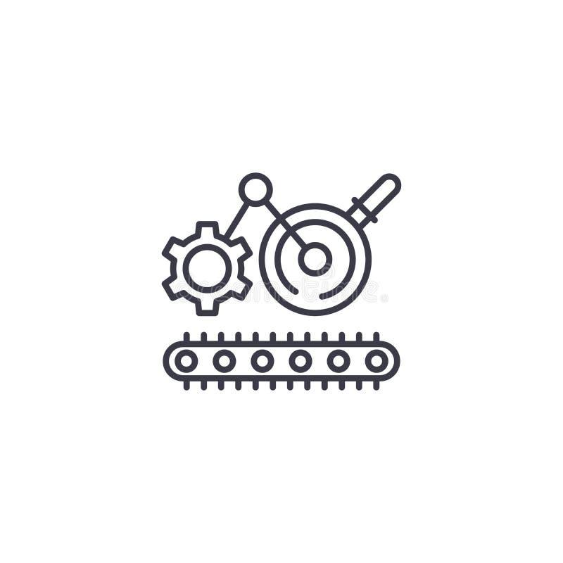Concept linéaire de processus d'icône d'ingénierie En machinant la chaîne de fabrication dirigez le signe, symbole, illustration illustration libre de droits