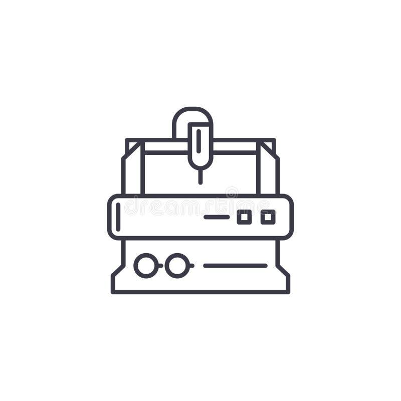 Concept linéaire de rotation d'icône de tour Les lignes d'usinage de rotation dirigent le signe, symbole, illustration illustration libre de droits