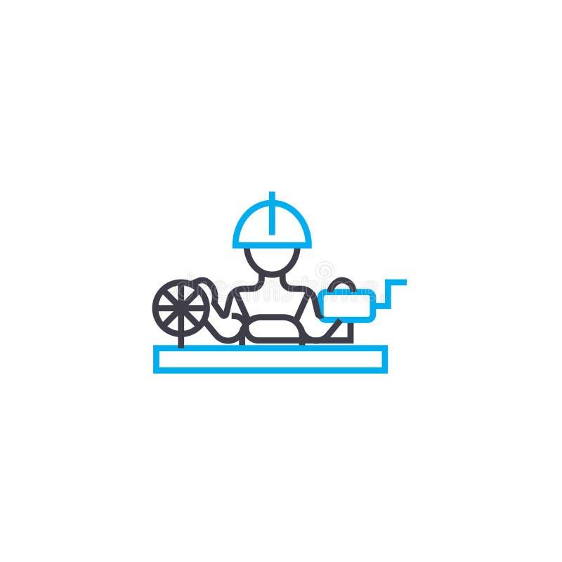 Concept linéaire de tissage d'icône d'usine L'usine de tissage rayent le signe de vecteur, symbole, illustration illustration libre de droits