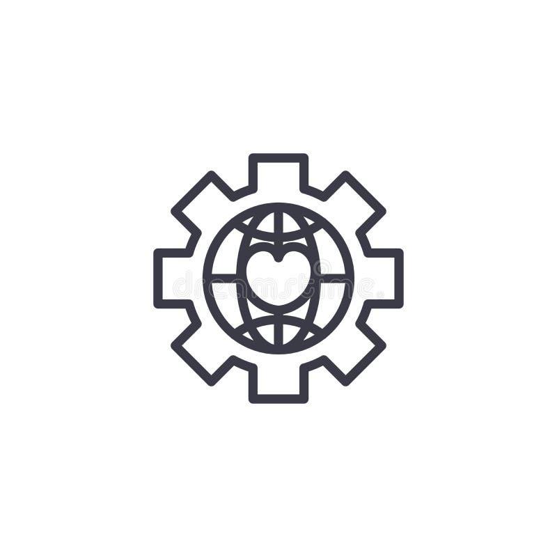 Concept linéaire global d'icône de NPO Le NPO global rayent le signe de vecteur, symbole, illustration illustration libre de droits