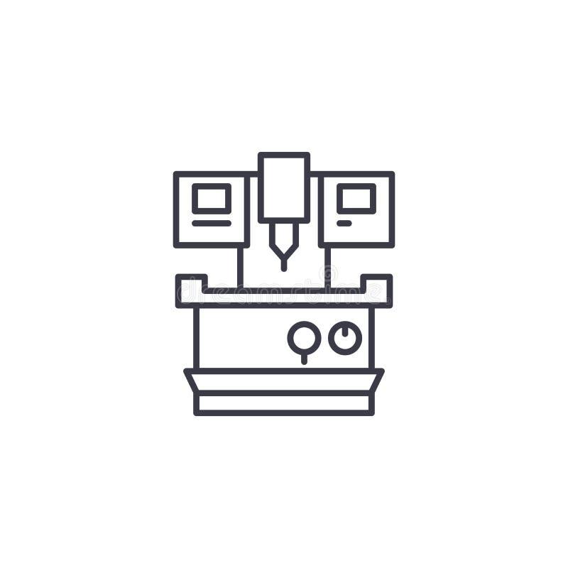 Concept linéaire industriel d'icône de machine-outil Ligne industrielle signe de vecteur, symbole, illustration de machine-outil illustration libre de droits