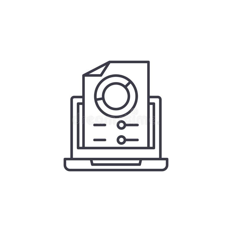 Concept linéaire produit d'icône de rapport Ligne produite signe de vecteur, symbole, illustration de rapport illustration de vecteur