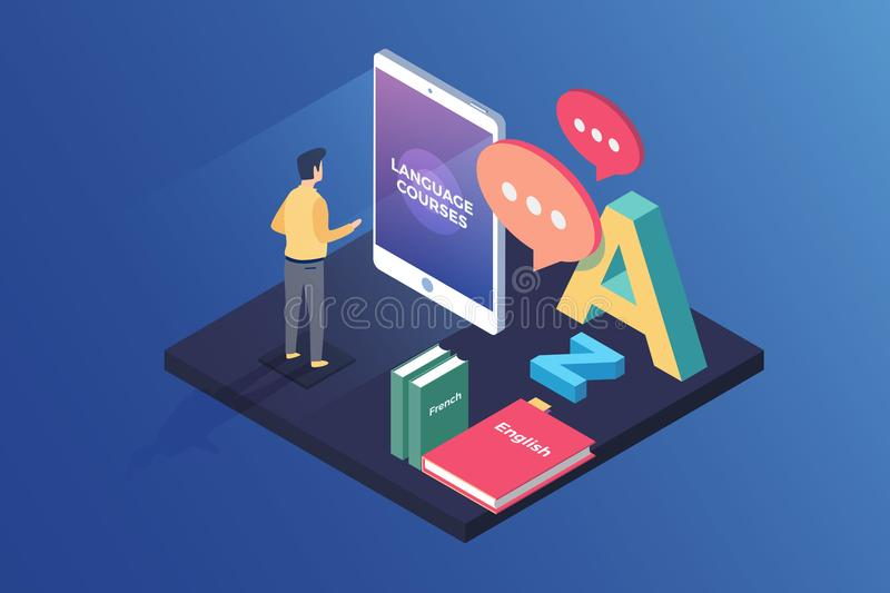 Concept on-line learning and teaching on theme of foreign languages. Student stands in front of gadget near textbooks at English,. French and letters of Latin royalty free illustration
