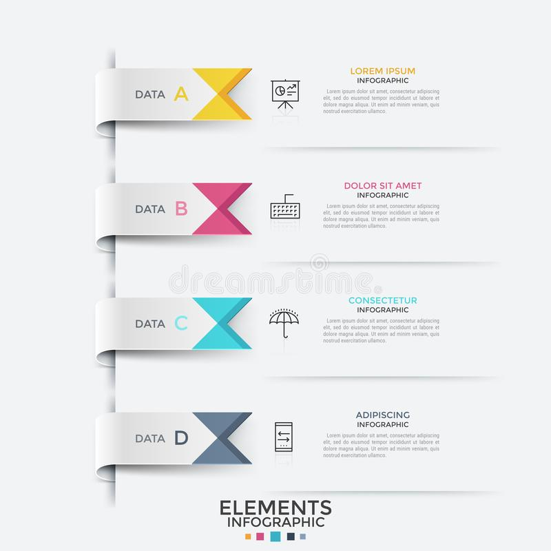 Concept of list with 4 options to choose. Four colorful ribbon-like bookmarks, thin line symbols and text boxes. Concept of list with 4 options to choose vector illustration