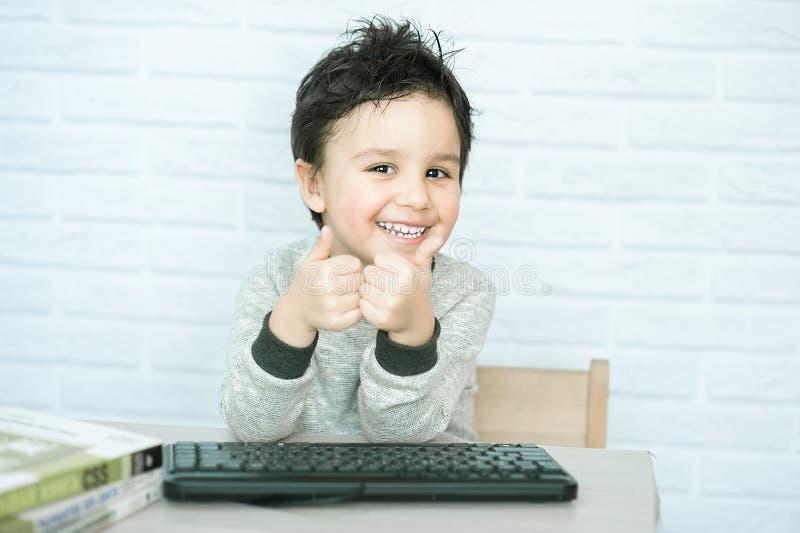 Concept of little businessman, webmaster, programmer, developer, Website designer. royalty free stock image