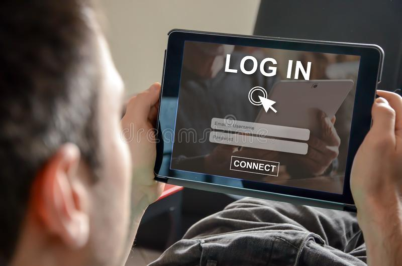 Concept of login. Login concept on a tablet stock photo