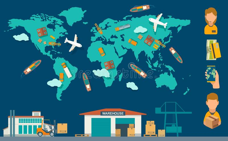 Concept logistic process from factory to warehouse with world map. Vector color flat illustration vector illustration