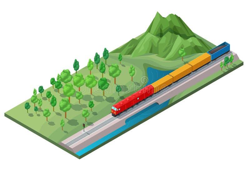 Concept logistique ferroviaire isométrique de transport illustration libre de droits