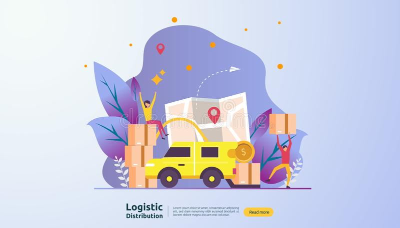 concept logistique global d'illustration de service de distribution banni?re mondiale d'exp?dition d'importations-exportations de illustration libre de droits