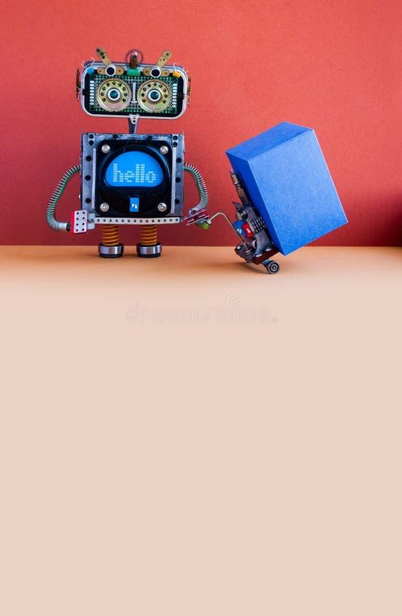Concept logistique robotique de service de distribution Chargeur de robot avec le cric actionné de palette Mécanisme de chariot d photos libres de droits