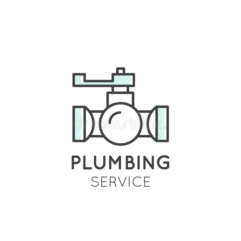 Concept Logo of Cleaning Service, Plumbing, Dishwashing, Household Company stock illustration