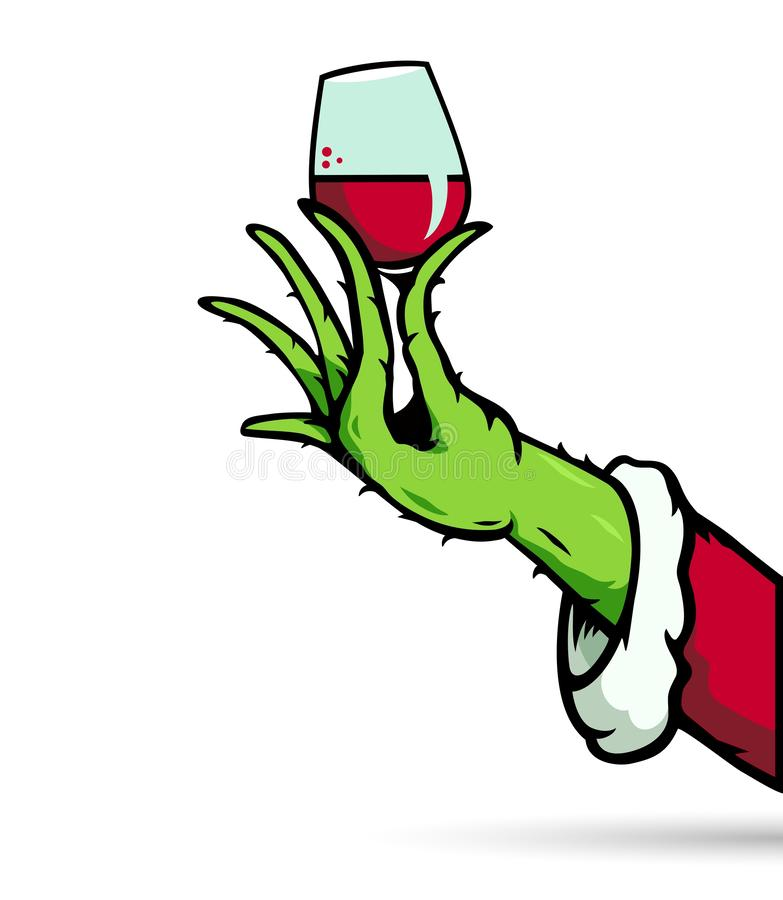 Drink up grinches. Concept clipart design of illustrator vector a printables drink up Grinch Christmas with glasses wine cartoon isolated transparent on white vector illustration