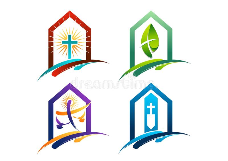 The concept of logos houses of worship to christianity. Conceptual designs vector with cross on a christianity religious theme vector illustration