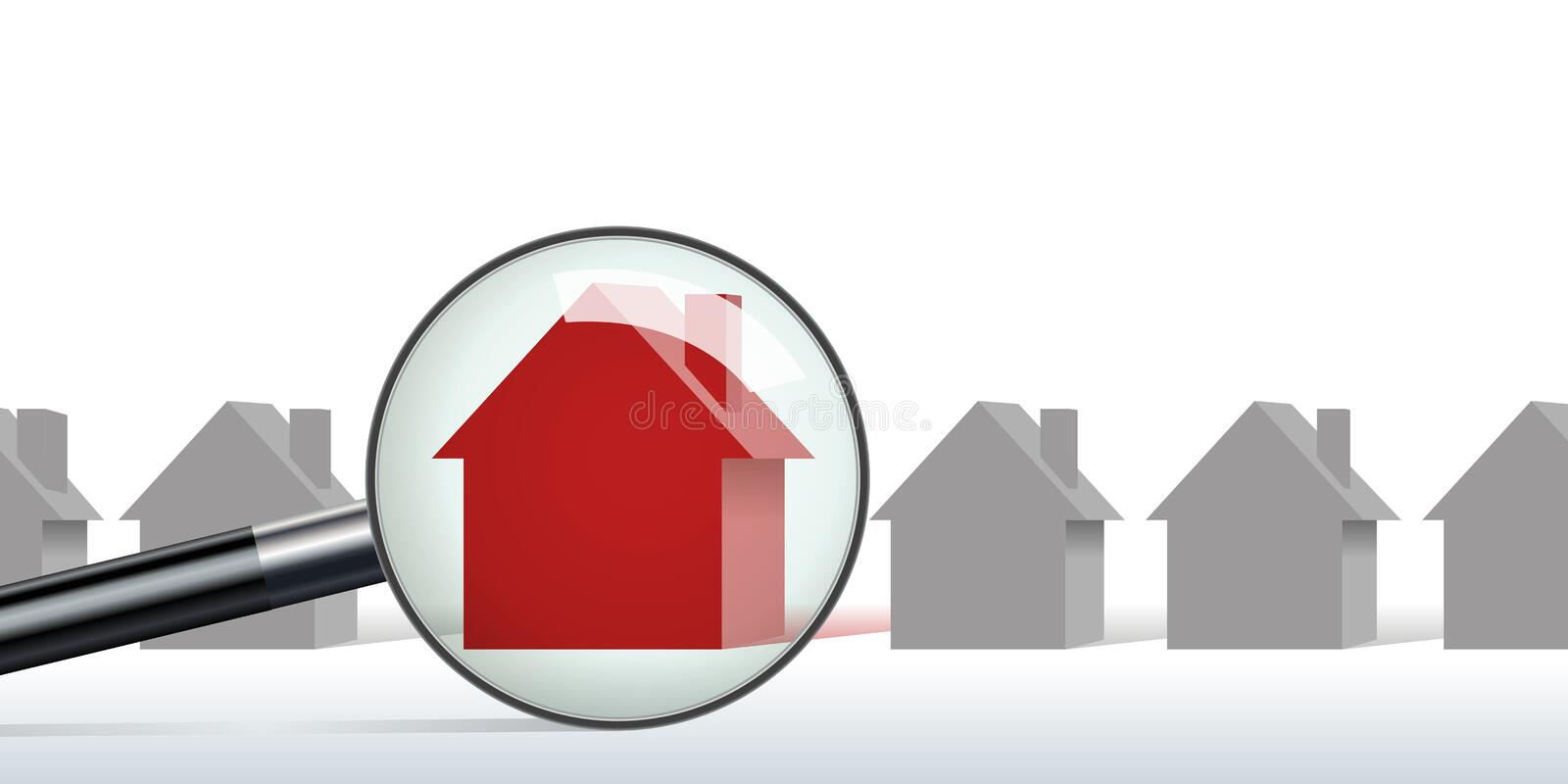 Concept of looking for real estate with a magnifying glass that marks a house royalty free illustration