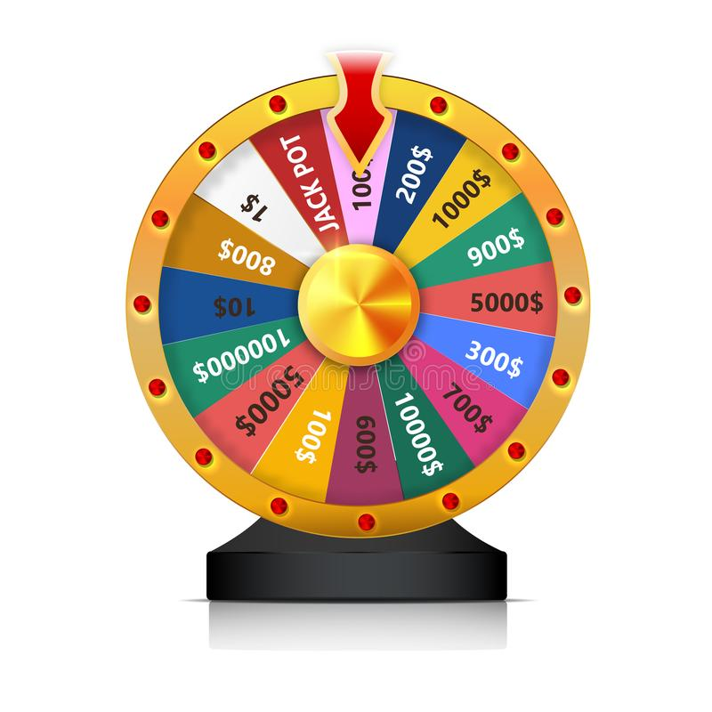Concept of lottery win. Roulette fortune wheel isolated vector illustration for gambling background. Wheel of Fortune stock illustration