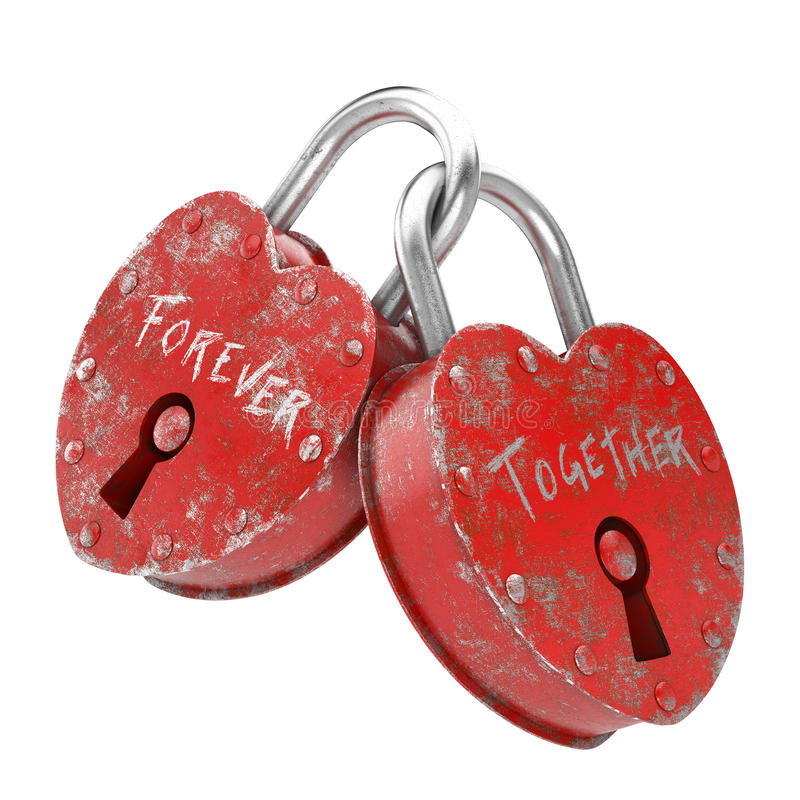 Concept of love forever. Two padlocks with forever together written as concept for love isolated and with clipping path royalty free illustration