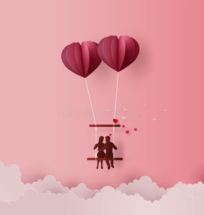 Concept of Love and Valentine day. Concept of Love and Valentine day ,Couples sit on swing floating on the sky with hot air balloon Heart shape. Paper art 3D royalty free illustration