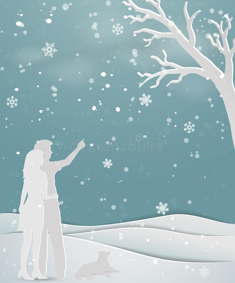 Concept of love in winter season on paper art scene abstract background,couple standing on snow with dog. For holiday,celebration party,Christmas or new year vector illustration