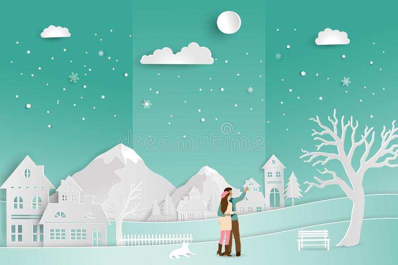 Concept of love in winter season and Valentine`s Day,couple romance with countryside landscape on soft green background. Paper art style,vector illustration stock illustration