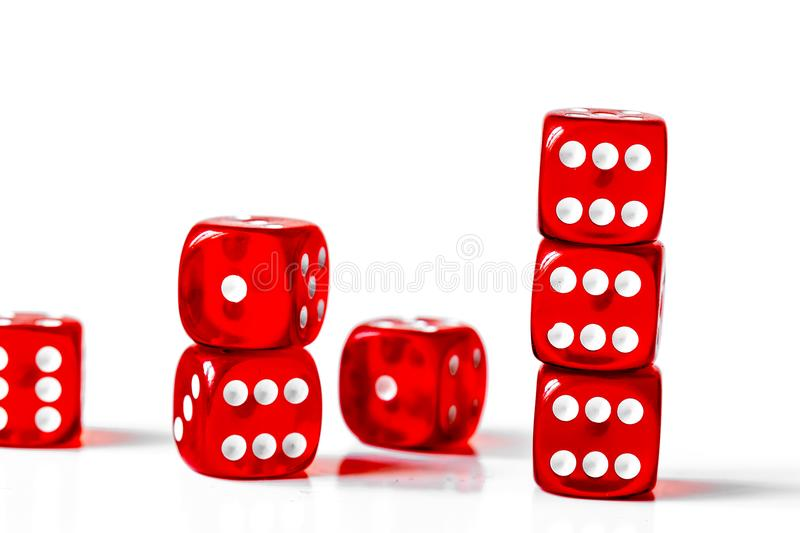 Concept luck - dice in row on white background stock photography