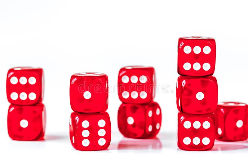 Concept luck - dice in row on white background royalty free stock image