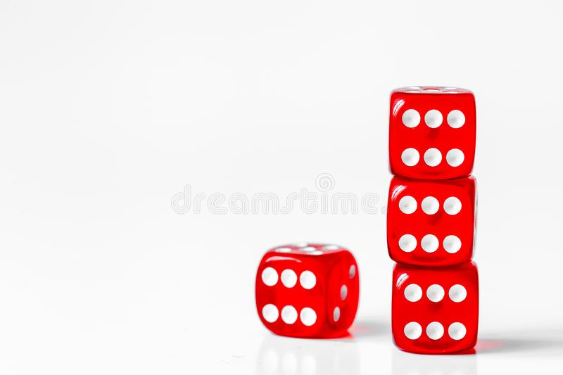 Concept luck - dice in row on white background royalty free stock photography