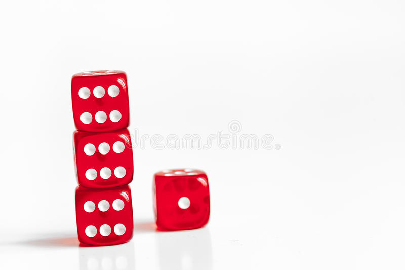 Concept luck - dice in row on white background stock image